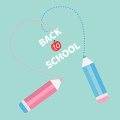 Two pencils dash heart. Blue Back to school card. Flat design.