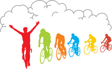 Wall Mural - CYCLISTES GAGNANTS
