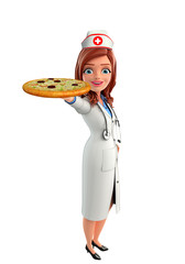Nurse Character with pizza