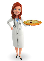 Young Doctor with pizza