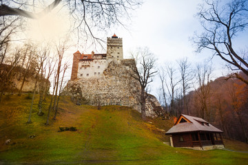 Bran Castle (Dracula castle) with house nearby