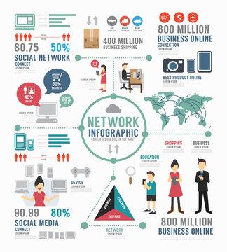 Infographic social network template design . concept vector.