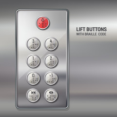 Lift buttons with braille code