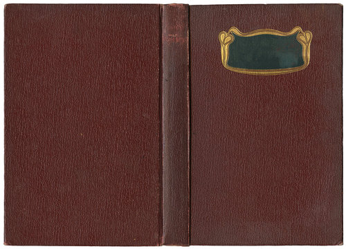Old open book cover in brown canvas with ornamental golden frame - circa 1904 - art nouveau