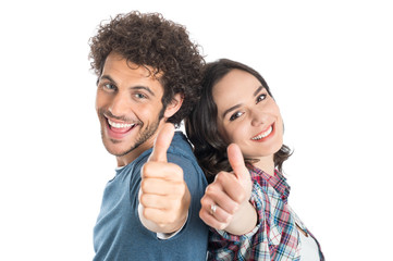 Young Couple Showing Thumb Up