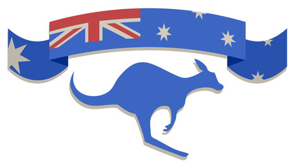 Flag and kangaroo