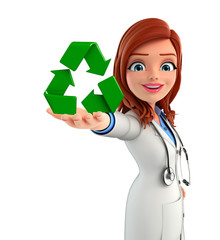 Young Doctor with recycle icon