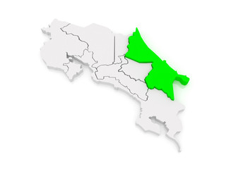 Map of Limon. Costa Rica.