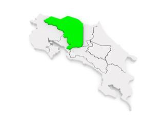 Map of Alajuela. Costa Rica.