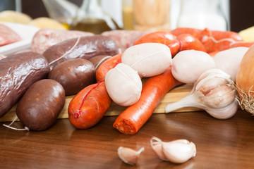 sausage on a cutting board