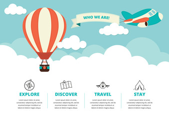 Website Layout with Travel Icons Wall mural