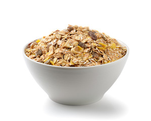 muesli breakfast placed on white background