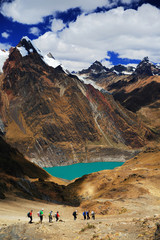 Solteracocha Lake in Cordiliera Huayhuash, Peru, South America