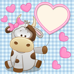 Cow with heart frame