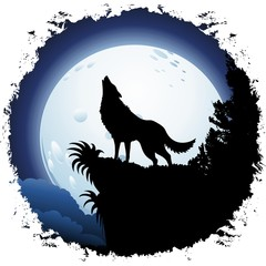 Wall Murals Draw Wolf Howling at Blue Moon on Grunge Frame