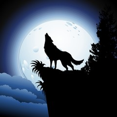 Wolf Howling at Blue Moon
