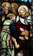 Fototapete - Wonder of Jesus: healing the blind