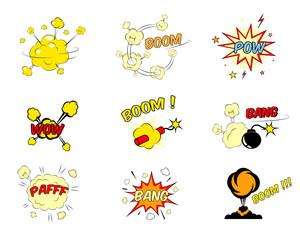 Set of comic cartoon text explosions