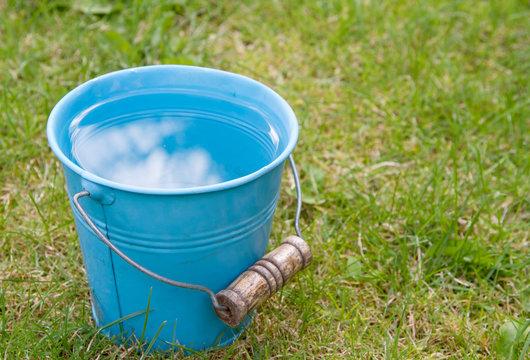 Blue bucket of water on grass