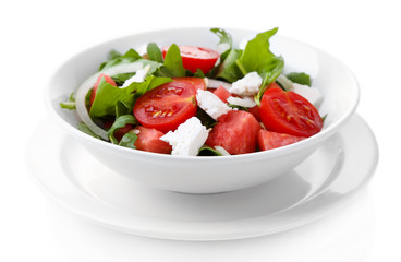 Salad with watermelon, feta, arugula and spinach leaves