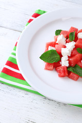 Salad with watermelon, feta and mint leaves