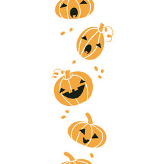 Smiling Halloween pumpkins vertical seamless pattern background