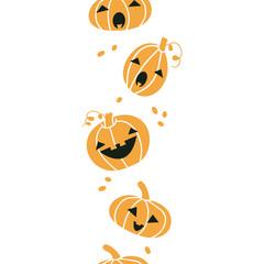 Smiling Halloween pumpkins vertical seamless pattern background