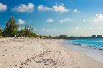 Perfect white beach with turquoise water on Caribbean