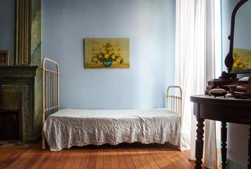 Altmodisches Zimmer Schlafzimmer Bett Möbel Vintage