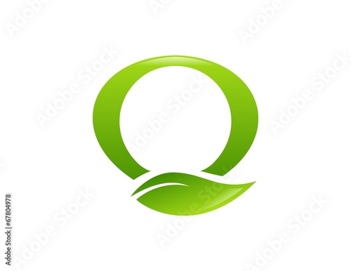 Eco Green Logo Bio Plant Leaf Vector Letter Q O Stock Image And