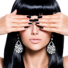 Beautiful woman with black nails