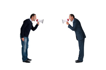 men shouting through megaphones isolated