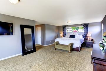 Cozy bedroom interior in soft lavender color