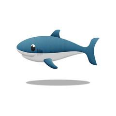 white shark cartoon is fish in underwater to sea