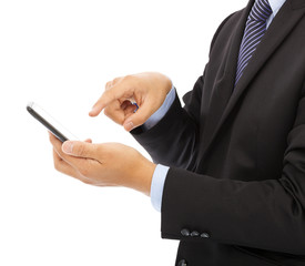 close up of businessman touch smart phone
