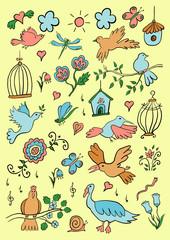 Hand Drawn Color Cartoon Birds Set