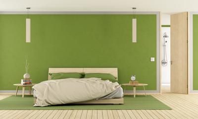 Green modern bedroom