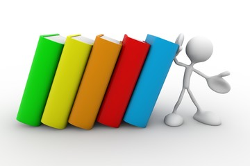 3d character holding a stack of colorful books