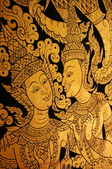 Thai Lacquer art on wall at temple