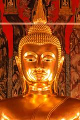 Buddha Image at Saket Temple , Bangkok in Thailand