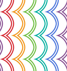 Abstract geometric curved zigzag seamless pattern in color.