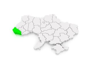 Map of Transcarpathian region. Ukraine.