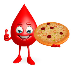 Blood Drop Character with pizza