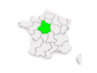 Map of Centre (French region). France.