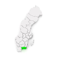 Map of Blekinge. Sweden.
