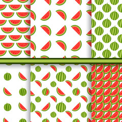 Bright set of seamless patterns with watermelons - vector textur