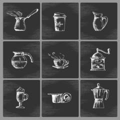 Hand drawn coffee icon set