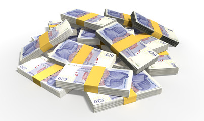British Pound Sterling Notes Scattered Pile