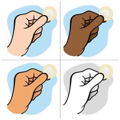 Hand holding a condom ethnic