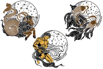 Capricorn,Aquarius,Pisces and the zodiac sign.Horoscope